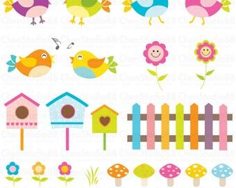 Cute birds vector - Digital paper and clip art set  - Instant Download