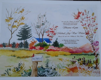 11 x 14 Watercolor painting with invitation