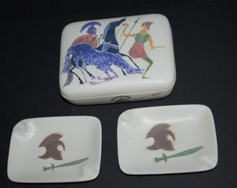 Ashtray and Ashtray Tinkle Box Set of Two Ashtray Roman Knights