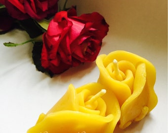 Upright Rose Beeswax Candle. Available in Pure Beeswax and also blended with 100% essential oils