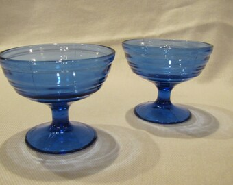 2 Cobalt Blue Concentric Circle Sherbet Dishes Moderntone by Hazel Atlas