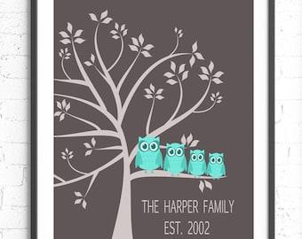 Custom Family Tree, Owl Family Tree, Custom Anniversary Present, Family Tree With Owls, Family Gift, Personalized Art Print, Custom Wall Art