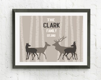 Deer Family Tree, Custom Family Art, Personalized Wall Art, Family Of Deer, Family Gift Personalized Art Print, Custom Wall Art, Family Name