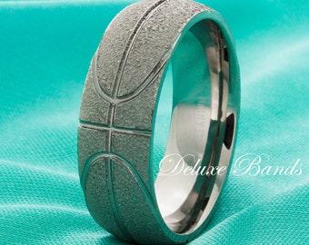 Titanium Wedding Ring Basketball Wedding Band Promise Ring Basketball Ring Brushed Anniversary Ring Sport Ring Mens Ring Laser Engraving 8mm