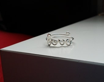 Silver Wire Love Ring