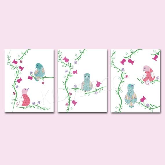 Lot de 3 illustrations chambre de fille b b art print - Illustration chambre bebe ...