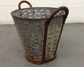 Mid Century, Antique Metal Olive Buckets, Farm Decorative, Country Rusty Decor, Collectible, Primitive Large Basket, made in USA