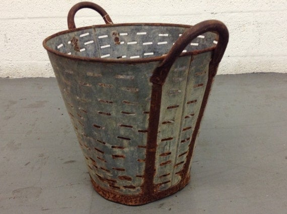 Mid century antique metal olive buckets farm by centuryland for Old metal buckets