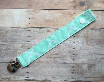 Mint Fabric Pacifier Clip