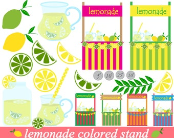 22 PNG Files -Lemonade Stand Clipart Set - Digital Clip Art Graphics Personal Commercial Use (002)