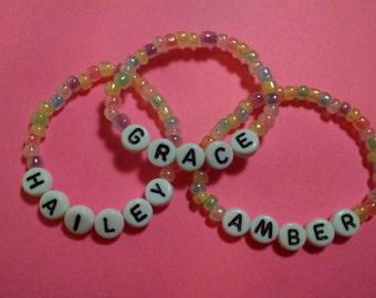 Personalized Stretch Bracelet, Personalized Beaded Bracelet, ID Bracelet, Children's Easter Basket, Children's Personalized Stretch Bracelet