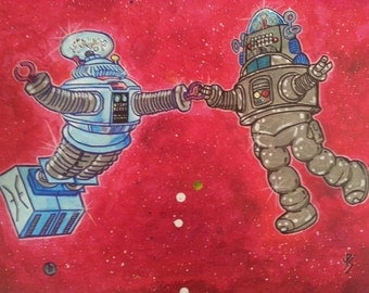 Robot Space Dance featuring B-9 Lost In Space and Robby The Robot Forbidden Planet Stars Ballet Astronaut Spacewalk Sun Moon interstellar