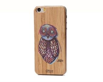 ArtBack owl, back of iPhone in bamboo wood