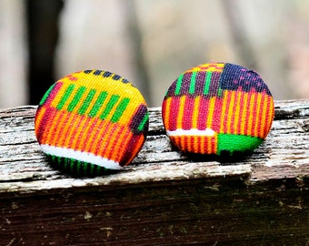 Kente Cloth Button Earrings