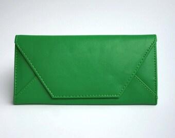 Womens Green Leather Wallet,  Apple Green Wallet,  Leather Wallet, Womens Wallet, Envelope Shaped Wallet