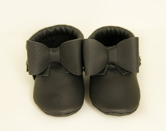 Black Authentic Leather Baby Bow Moccasins