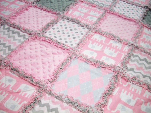 Baby Rag Quilts Pink Gray Baby Quilt Rag Quilt Unisex Rag