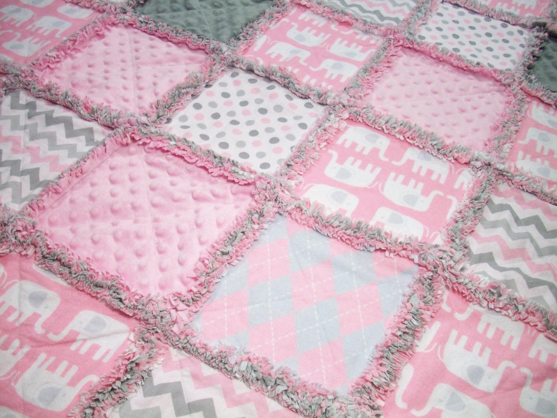 Baby Rag Quilts Pink Gray Baby Quilt Rag Quilt Unisex Rag