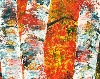 Acrylic pallet knife Fall Birch Tree expressionistic painting