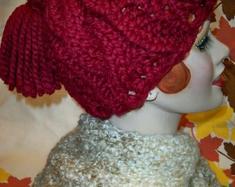 SALE! Chunky Knit Cable Tassel Hat Wool Ease Thick and Quick Cranberry Yarn Handmade