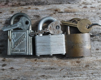 Vintage Padlocks Set with Keys