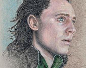 Loki / Tom Hiddleston print of colored pencil drawing