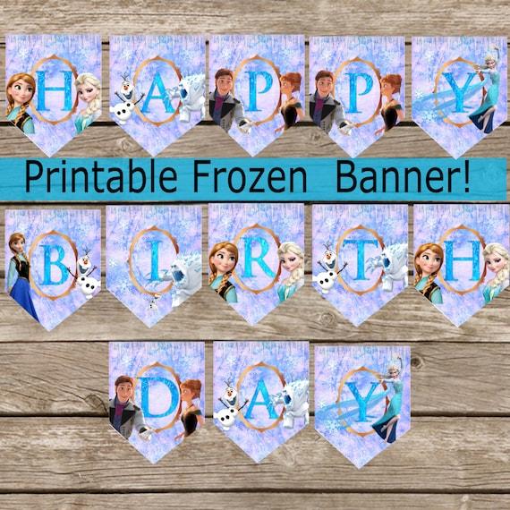 Frozen Birthday Banner Printable Frozen Banner Party By: Custom Purple Frozen Birthday Banner Digital Download