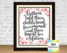 Mother's Day Art Print, Mothers Quote, Printable Digital Art, Mothers Day Wall Decor, Floral Print Mother's Day Wall Art, Digital File
