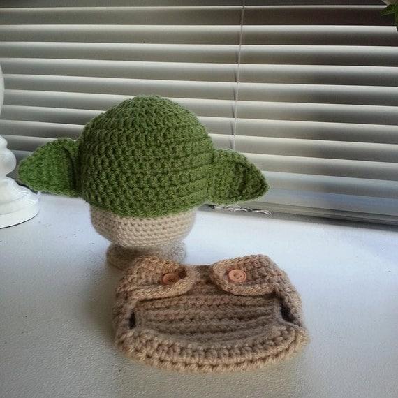 Crochet Yoda Hat : Crochet Baby Yoda Hat and Diaper Cover Set by CrochetBOSS14