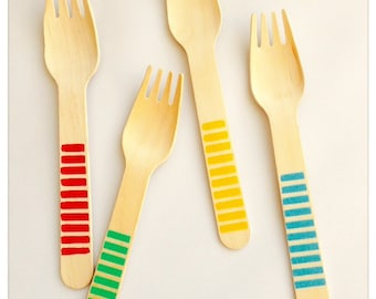 Mix and Match Disposable Wooden Forks with polka dots, Chevron and Stripes, wooden cutlery, wooden utensils, party utensils