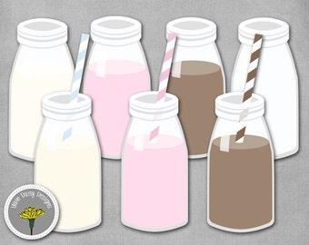 Milk Bottle Clip Art, Mini Milk Bottle, Paper Straws, Instant Download, Digital Scrapbooking,