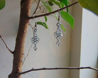Pale Aluminum 4 in 1 Rosette Earrings with Glass Bead