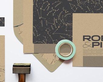 """Constellations Wedding Invitation Set: """"The Astronomer"""" from the Robin Collection"""