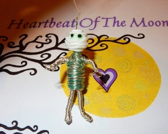 Mummy Car Charm. One of a kind, hand made with craft wire and lampwork glass bead for the head.