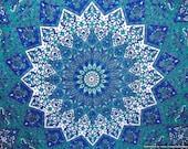 BSD147 Blue Star mandala Flower mandala Psychedelic tapestry,Red Star mandala tapestry , Boho hippie mandala tapestries, table cloth