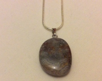 Women's Natural Stone Pendant Charm Necklace Silver Chain Grey