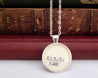 Ayn Rand jewelry, book necklace, library card jewelry, Atlas Shrugged book, Dewey Decimal system, libertarian gift, political necklace