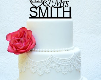Custom Wedding Cake Topper Mr and Mrs with Your Last Name, Modern Wedding Cake Topper (item number 10011)