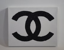Coco Chanel Symbol Glitter Canvas Print Christmas Gifts