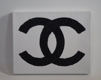 Coco Chanel Symbol Glitter Canvas Print - Please Read Our Store Policies