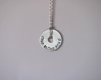 "Doctor Who Hand Stamped Washer Necklace on Chain - ""Come Along Pond"""