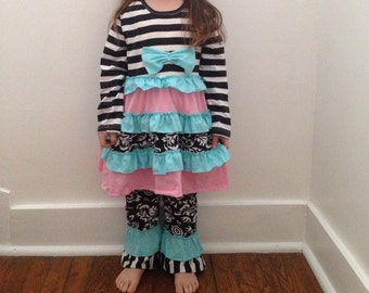 Persnickety Inspired Remake- Pink and blue ruffled boutique outfit . Two layered ruffled pants damask print