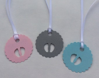 Baby Shower Tags: 10+ New Baby Tags. Pink, Blue and Gray Baby Shower Tags with Ribbon