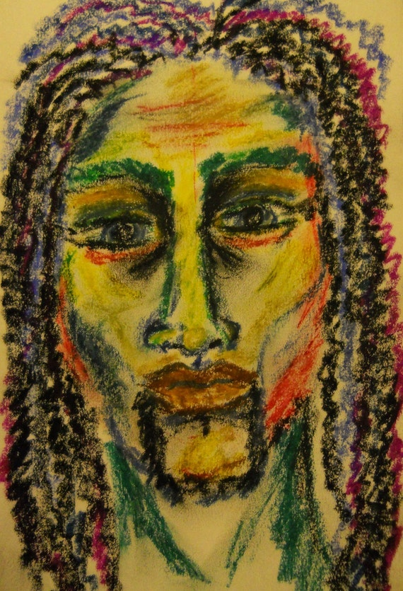 CHALLENGER - Oil Pastel Drawing Primitive Ethnic Folk Art men of color African American Artist Stacey Torres long hair dreads soulful man