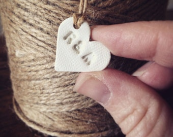 75 tiny clay heart tags for decorating wedding favours ~ wedding table centres ~  wedding decor ~ wedding favor ~ personalised ~personalize