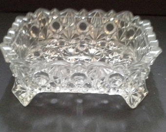 Antique Daisy and Button Cut Glass Butter Dish Base