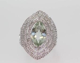 925 Prasiolite / White Topaz Ring