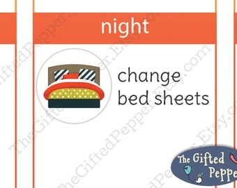 Bed stickers [Printable], Change sheets, make bed. For Erin Condren Planner. Stickers, printable calendar stickers