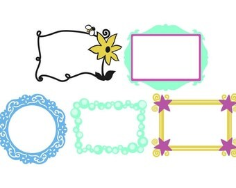 Girl Picture Frames Vector Art SVG Files