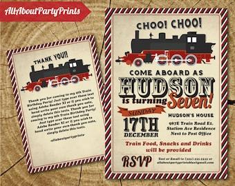 Train Birthday Party Invitation printable -Kid or Adult Birthday invitation